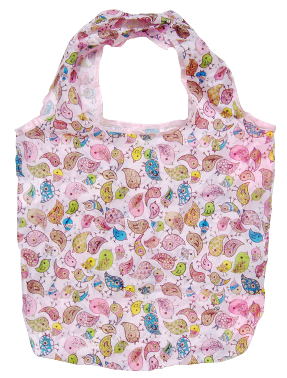 Panda Superstore Creative Bird Folding Compact Eco Reusable/Recycling Shopping Bag PINK