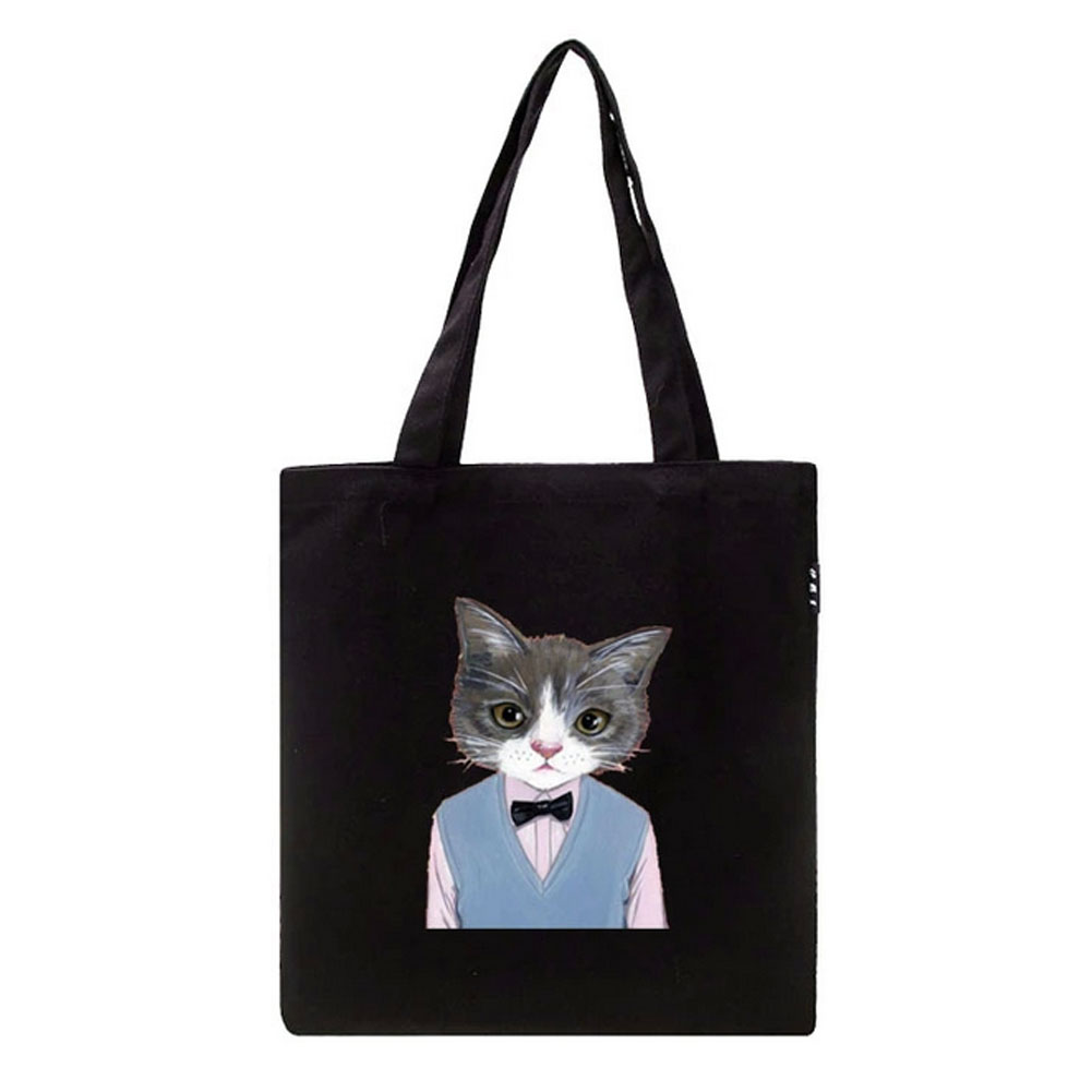 Panda Superstore Fashion Cat Reusable Grocery Tote Bag Reusable Shopping Bags(Black)