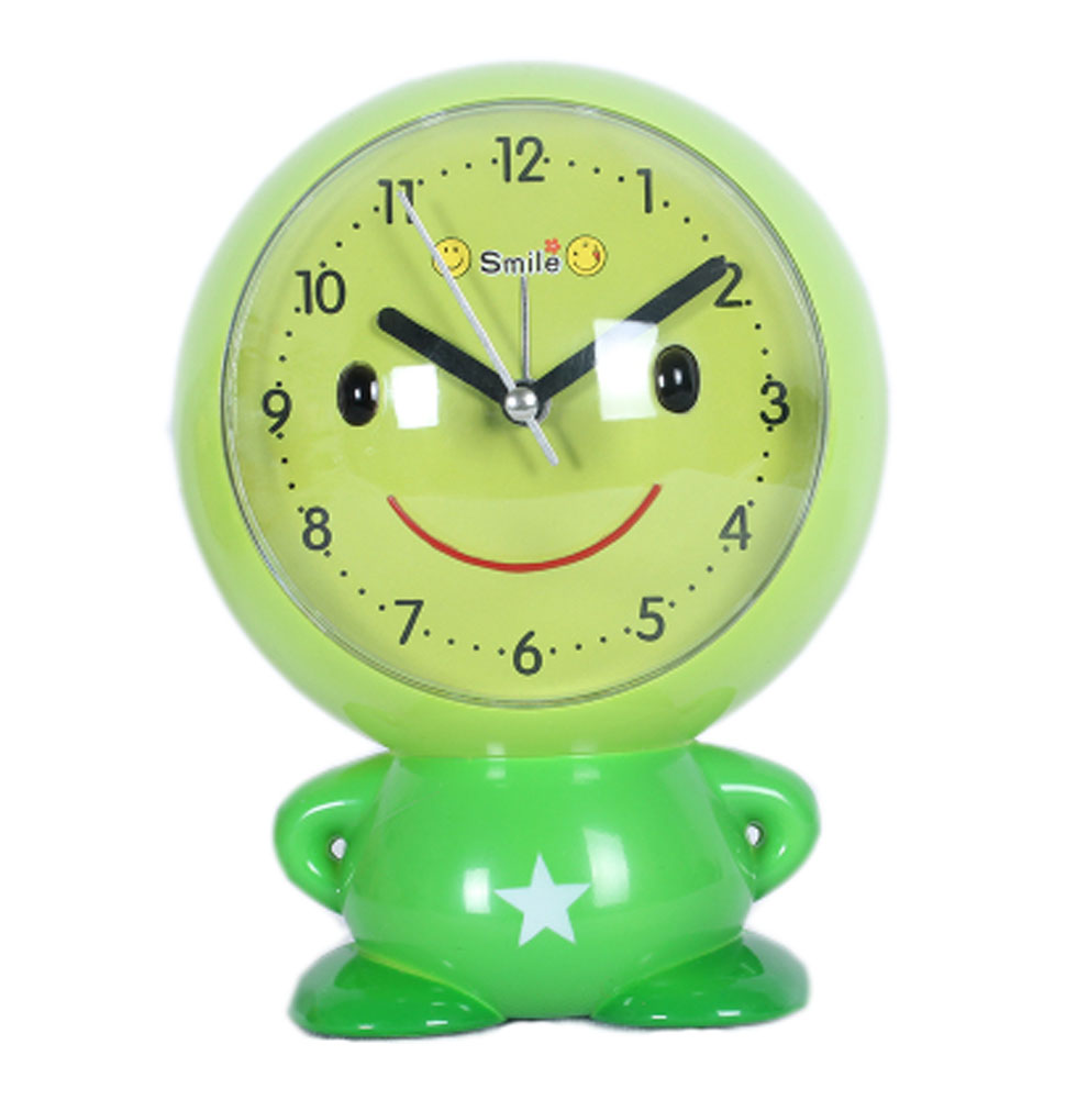 Panda Superstore Cute Cartoon Figure-Shaped Alarm Clock For Kids With Night-Light Green