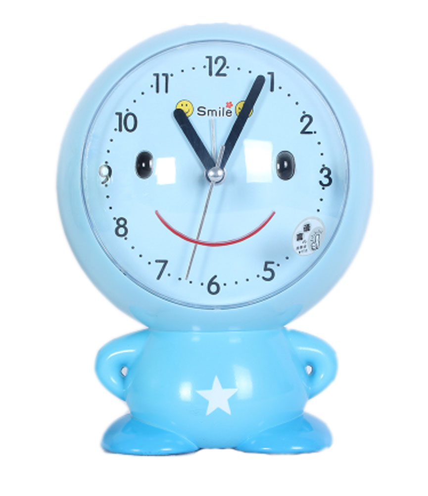Panda Superstore Cute Cartoon Figure-Shaped Alarm Clock For Kids With Night-Light Blue