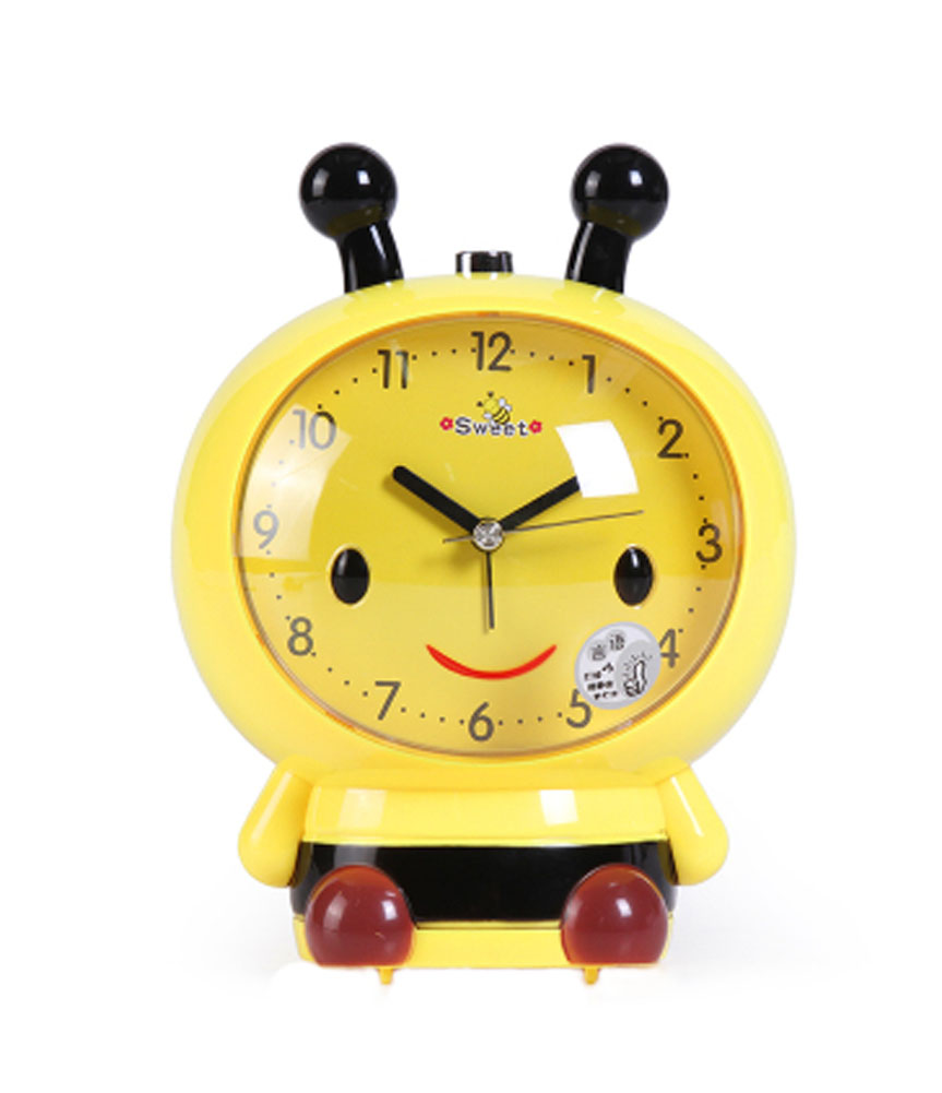 Panda Superstore Cute Bee-Shaped Alarm Clock For Kids With Night-Light Yellow