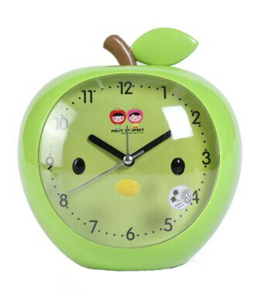 Panda Superstore Cute Apple-Shaped Alarm Clock For Kids With Night-Light Green