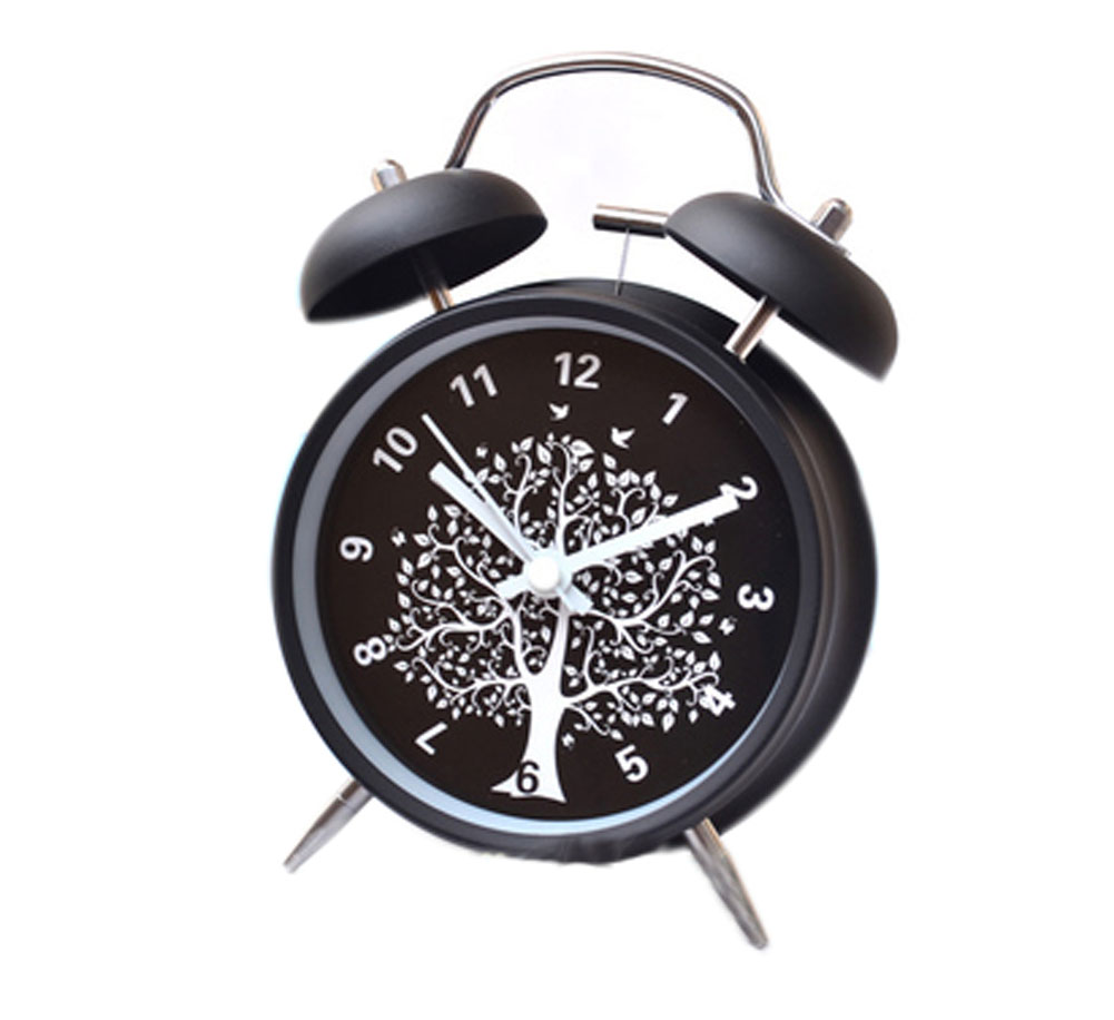 Panda Superstore Eleagnt Metal Tree Double Bell Alarm Clock With Night-Light Black 4