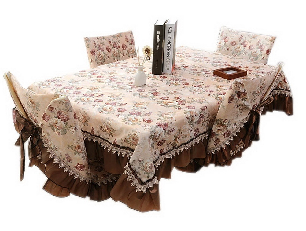 Panda Superstore Vintage Brown Camellia Pattern Linen Tablecloth , 51 By 70Inches